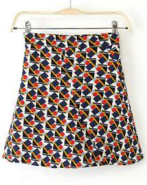 Geometric Print Skirt at Romwe