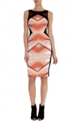 Geometric print shift dress at Karen Millen