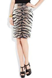 Giambattista Valli Cotton and silk-blend tiger-print pencil skirt at Net A Porter