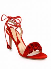 Gianvito Rossi Ruffle Suede Ankle-Wrap Sandals at Saks Fifth Avenue