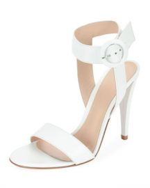 Gianvito Rossi Smooth Leather Ankle-Wrap Sandal at Neiman Marcus