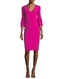 Ginette V-Neck Trumpet-Sleeve Sheath Cocktail Dress at Neiman Marcus