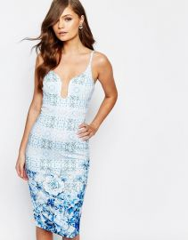 Ginger Fizz   Ginger Fizz Plunge Pencil Dress In Border Print at Asos