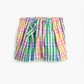 Girls  tie-waist pull-on short in rainbow check at J. Crew