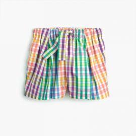 Girls  tie-waist pull-on short in rainbow check at J. Crew