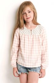 Girls Crochet-Panel Checked Top in pink at Forever 21