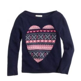 Girls Fair Isle heart sweater at J. Crew