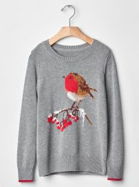 Girls Intarsia Winter Bird Sweater at Gap