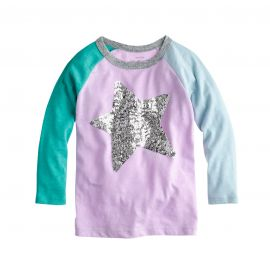 Girls Sequin Star Colorblock Tee at J. Crew