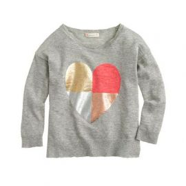 Girls multi-heart sweater in grey at J. Crew