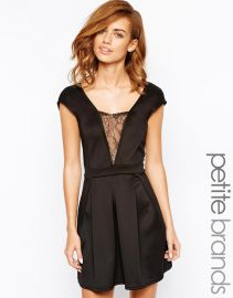 Girls on Film Petite  Girls On Film Petite Plunge Neckline Skater Dress at Asos