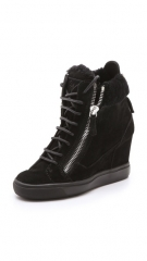 Giuseppe Zanotti Suede Double Zipper Wedged Sneakers at Shopbop
