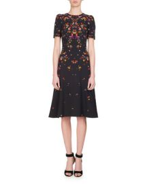 Givenchy Anna Pansy-Print Midi Dress  Multi at Neiman Marcus