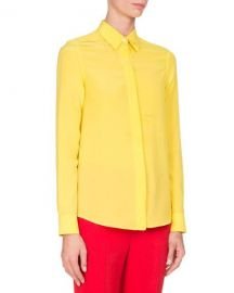 Givenchy Crepe de Chine Blouse  Yellow at Neiman Marcus