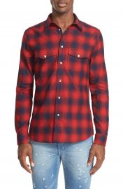 Givenchy Extra Trim Fit Plaid Flannel Western Shirt at Nordstrom