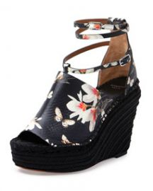 Givenchy Floral-Print Wedge Sandal Black at Neiman Marcus