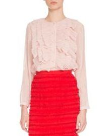 Givenchy Long-Sleeve Ruffled Georgette Blouse  Light Pink at Neiman Marcus