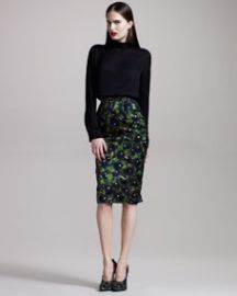 Givenchy Pansy-Print Pencil Skirt at Neiman Marcus
