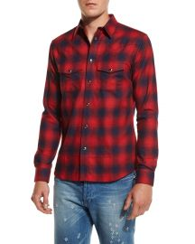 Givenchy Plaid Western Shirt  Red Navy at Neiman Marcus