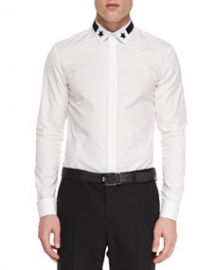Givenchy Star-Detail Hidden-Placket Shirt at Neiman Marcus