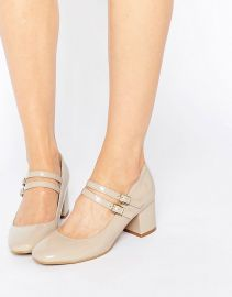 Glamorous Double Strap Mary Jane Mid Heeled Shoes at Asos