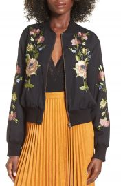 Glamorous Floral Embroidered Bomber Jacket at Nordstrom