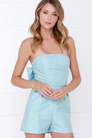 Glamorous Go Bow dly Light blue Strapless Romper at Lulus