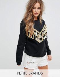 Glamorous Petite Relaxed Sweatshirt With Chevron Tassel Trim at Asos