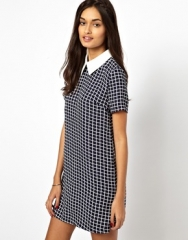 Glamorous Short Sleeve Shift Dress with Contrast Collar at Asos