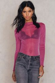 Glittery High Neck Mesh Top Pink at NA-KD
