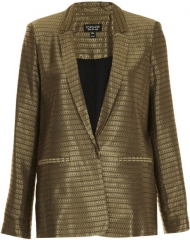 Gold Diamond Jacquard Blazer at Topshop