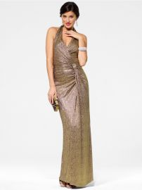Gold Halter Gown with Side Knot at Cache