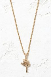 Gold The Little Rose Charm Necklace at South Moon Under