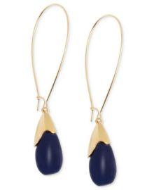 Gold-Tone Blue Oval Bead Drop Earrings at Macys