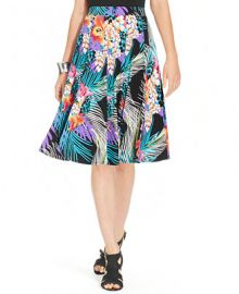 Grace Elements Tropical-Print A-Line Skirt at Macys