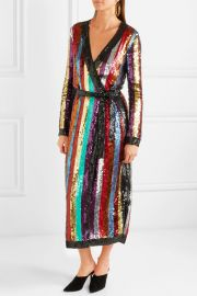 Grace striped sequined georgette wrap dress by Attico at Net A Porter