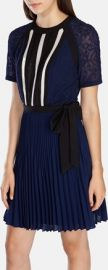 Graphic Lace Insert Pleat Dress at Karen Millen
