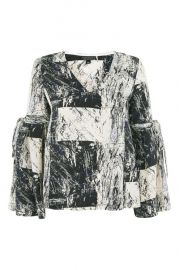 Graphic print blouse at Topshop