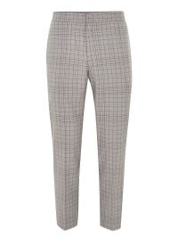 Gray Grid Check Slim Cropped Dress Pants at Topman