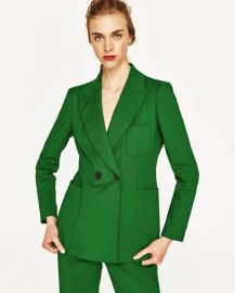 Green Double Breasted Jacket at Zara