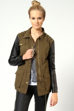 Green and leather jacket at Boohoo at Boohoo