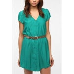Green button front dress at Urban Outfitters at Urban Outfitters
