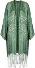 Green floral jacquard kimono at Topshop