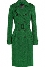 Green lace trench coat by Burberry at Net A Porter