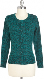 Green leopard print cardigan at ModCloth at Modcloth