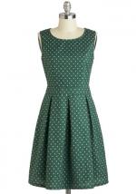 Green polka dot dress at Modcloth