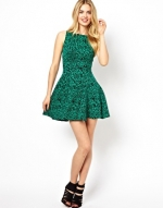 Green printed dress at ASOS at Asos