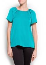 Green satin blouse at Mango