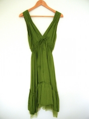 Green silk dress by Glam Vintage Soul at eBay