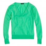 Green v neck sweater at Jcrew at J. Crew